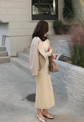 [band] [Wholegarment] Ribbing slit knit skirts (3color)