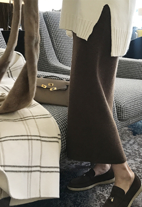 [cashmere][Wholegarment][Band] Wooden knit skirts (2color)