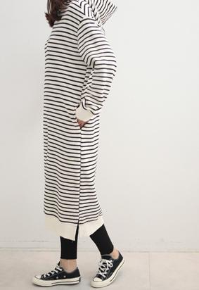 [napping] Stripe hood dress (2type)