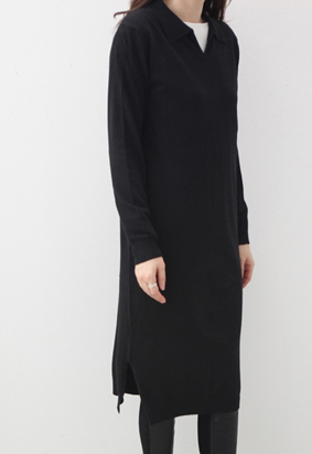 Collared knit dress (4color)