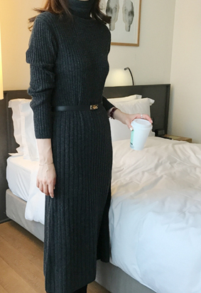 [cashmere] Turtle ribbing dress (3color)