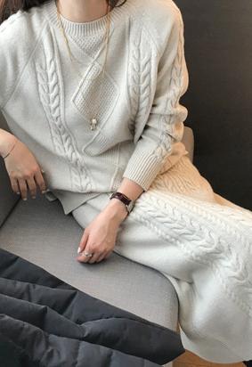 [cashmere] Diaper knit set (2color)