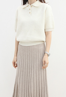 Lamblike collar knit (ivory)