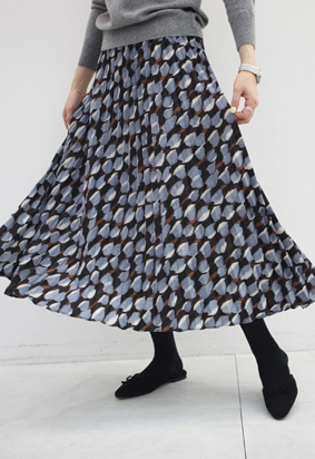 [band] Oil color pleats skirt