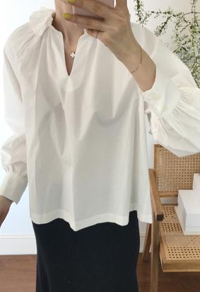 Frill cotton blouse (2color)