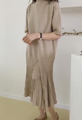 Unbalance knit dress (oatmeal)