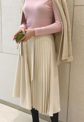 Belt pleats skirt (2color)