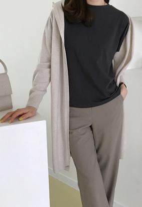 [Wholegarment] Hooded cardigan (oatmeal)