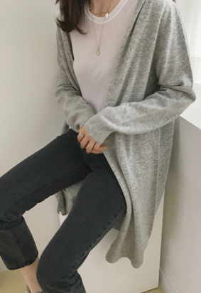 [Wholegarment] Hooded cardigan (gray)