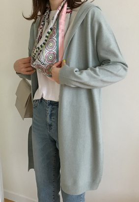 [Wholegarment] Hooded cardigan (mint)