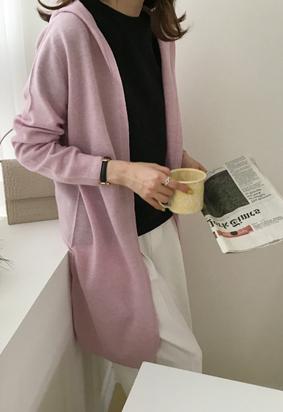 [Wholegarment] Hooded cardigan (pink)