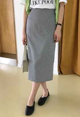 Marine check skirt (black)