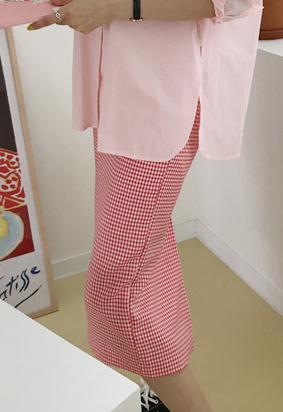 Marine check skirt (red)