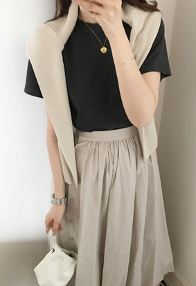 [Back Band] Ripple Cotton Skirt (2color)