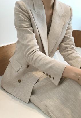 Linen double jacket (beige)