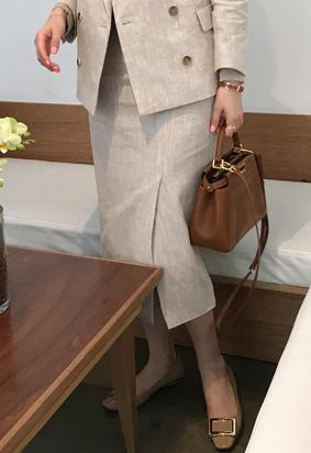 Linen slit skirt (beige)