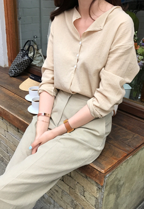 Button round blouse (3color)