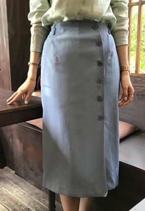[Back band] Linen wrap skirt (3color)