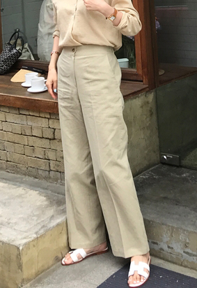 [Back band] One button linen slacks (3color)