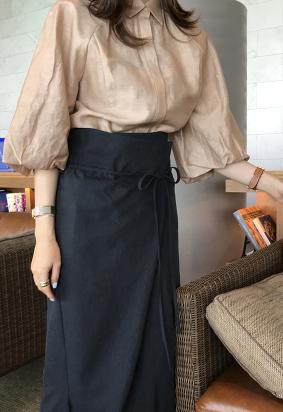 Balloon collar blouse (3color)