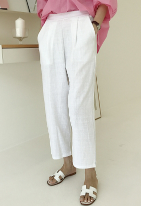 [Back band] Cool cotton slacks (white)