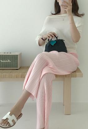 [band] Cuddly pleats pants (pink)