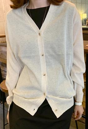 V linen cardigan (2color)