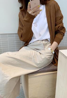 V linen cardigan (brown)