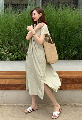 Lilly shirring dress (khaki)