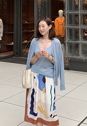Dario knit cardigan set (skyblue)
