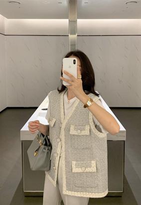 Tweed pocket vest (2color)
